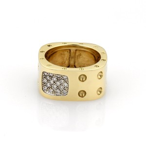Roberto Coin Pois Moi Pave Diamonds 18k Gold Wide Band Ring