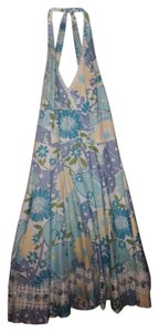 Lilly Pulitzer short dress Blue yellow white Halter A Line Knee Length Floral on Tradesy