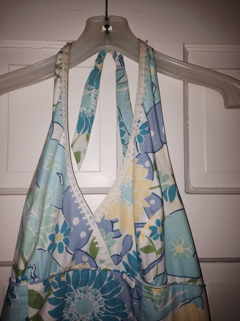 Lilly Pulitzer short dress Blue yellow white Halter A Line Halter A Line Knee Length Pink Green Floral Summer on Tradesy
