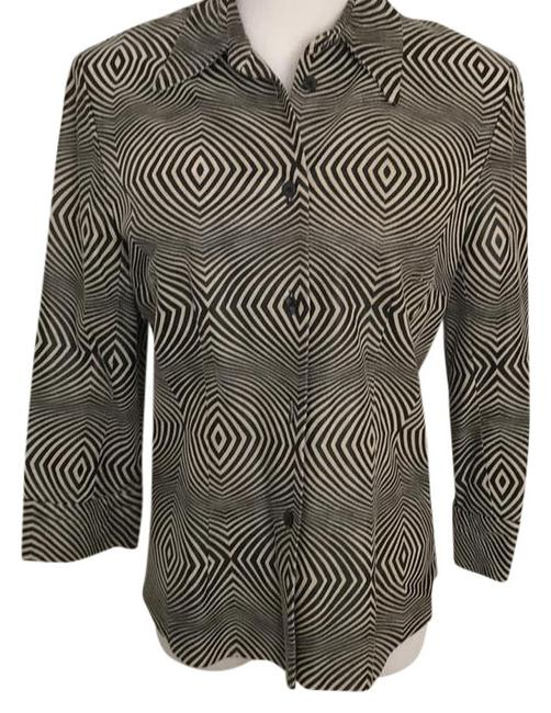 Item - Black and Beige Blouse Size 10 (M)