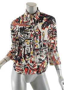 Prada Venice Cotton Top Red, Black, White and Yellow
