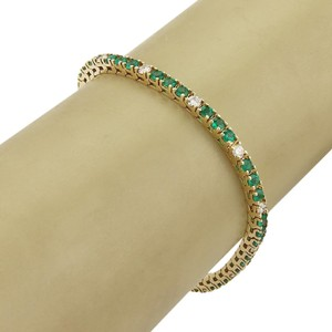 Modern Vintage #19029 Estate 5.00ct Diamond & Emerald 14k Yellow Gold Tennis Bracelet