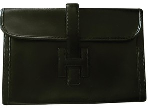 Hermès Vintage Leather Jige Black Clutch