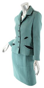 Prada PRADA Green Wool A-Line Skirt Suit Amazing Details Beautifully Styled