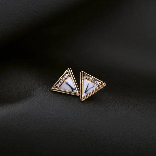 Other White Marble Crystal Stone Triangle Stud Earrings Image 1