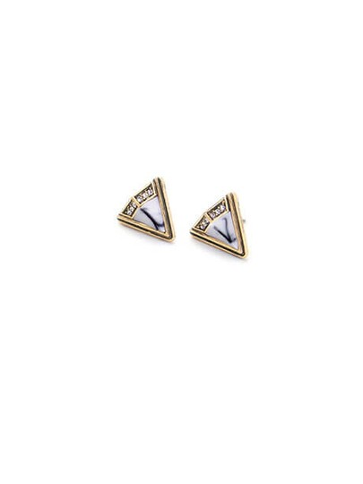 Other White Marble Crystal Stone Triangle Stud Earrings Image 3
