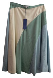 Rebecca Minkoff Color-blocking Summer Below Knee Polyester Tea Length Skirt Green/Blue/Cream