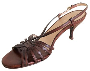 Cole Haan Strappy Leather Heels Brown Sandals