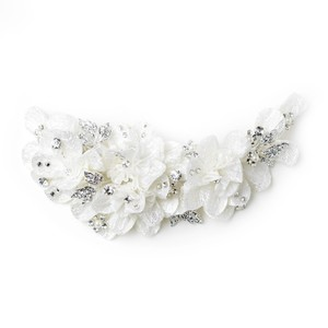Elegance by Carbonneau Ivory Pearl Rhinestone Accent Lace Floral Clip 9641 Hair Accessory