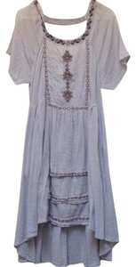 Free People short dress blue High Low Hem Cut-out Embroidered Cotton on Tradesy