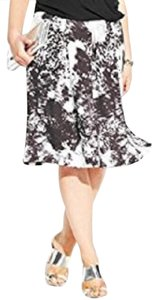 INC International Concepts A-line Abstract Skirt Black White