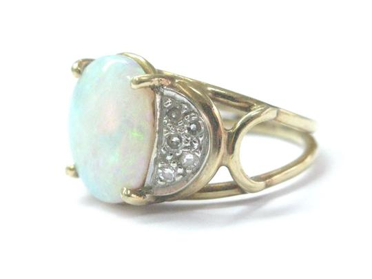Other Fine Opal Diamond Yellow Gold Anniversary Jewelry Ring 1.40Ct Image 1