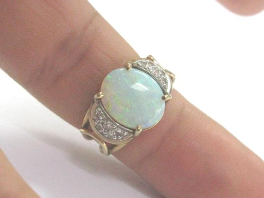 Other Fine Opal Diamond Yellow Gold Anniversary Jewelry Ring 1.40Ct Image 4