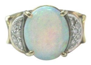 Other Fine Opal Diamond Yellow Gold Anniversary Jewelry Ring 1.40Ct