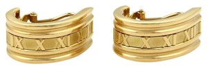 Tiffany & Co. ATLAS Roman Numeral Large Curved Huggie Earrings in18k Yellow Gold