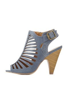 Delicious Caged Heeled Denim Size 8 Denim blue Sandals