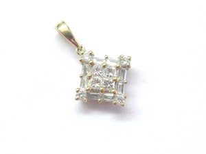 Other 18Kt Princess Round & Baguette Diamond Yellow Gold Pendant .45Ct