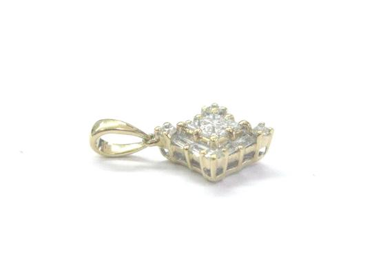 Other 18Kt Princess Round & Baguette Diamond Yellow Gold Pendant .45Ct Image 2