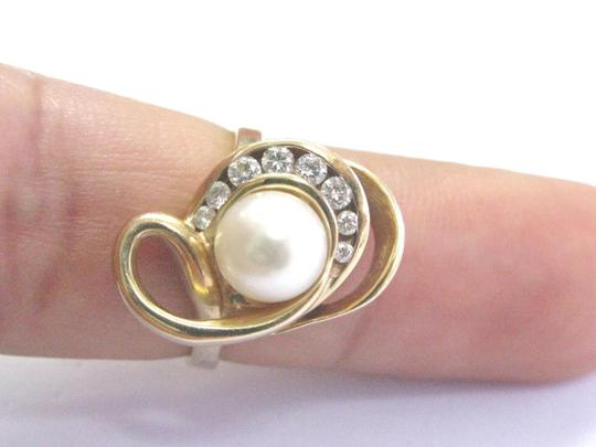 Other Fine Pearl Diamond Yellow Gold Jewelry Ring 7.4mm .21Ct Image 3