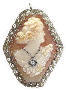 Other Fine Vintage Cameo Old European Diamond Pin/Brooch .02Ct