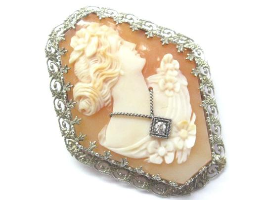 Other Fine Vintage Cameo Old European Diamond Pin/Brooch .02Ct Image 1