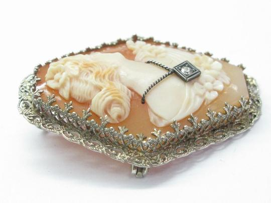 Other Fine Vintage Cameo Old European Diamond Pin/Brooch .02Ct Image 2