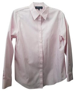 Jones New York Button Down Shirt Pink and white