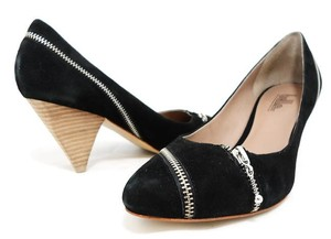 Belle by Sigerson Morrison Suede Silver Hardware Cone Pointed Toe Black Pumps