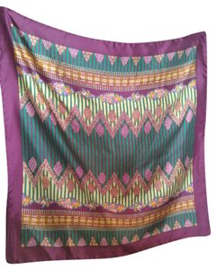 Liberty of London Vintage Liberty of London All Silk Floral & Striped Jewel Toned Scarf
