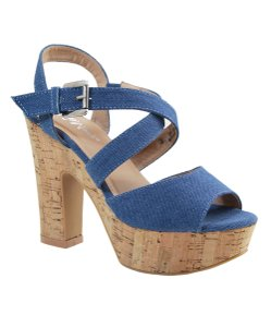 Bella Marie Denim Platform Size 8 Denim blue Sandals