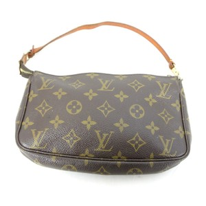 Louis Vuitton Leather Canvas Monogram Classic Brown Clutch