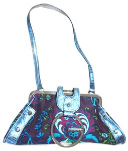 Guess Statement Small Mixed Media Blue Multi Clutch