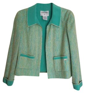 Chanel CHANEL 01C Silk LeSage Green Tweed Jacket New With Tag F44