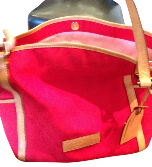 Preload https://item2.tradesy.com/images/dooney-and-bourke-red-and-tan-canvas-shoulder-bag-2114581-0-0.jpg?width=440&height=440