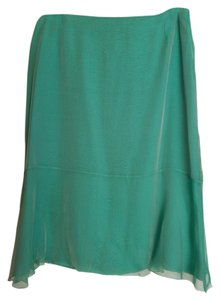 Chanel Silk Pencil Skirt Green