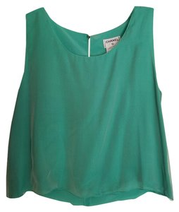 Chanel Blouse Silk Top Green