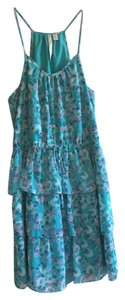 LC Lauren Conrad short dress turquoise floral on Tradesy