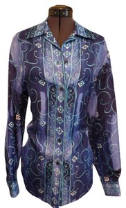 Escada Classy Work Office Sophisticated Mature Top Blue