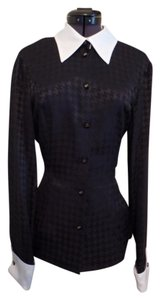 Escada Classy Work Office Sophisticated Houndstooth Top Black & White