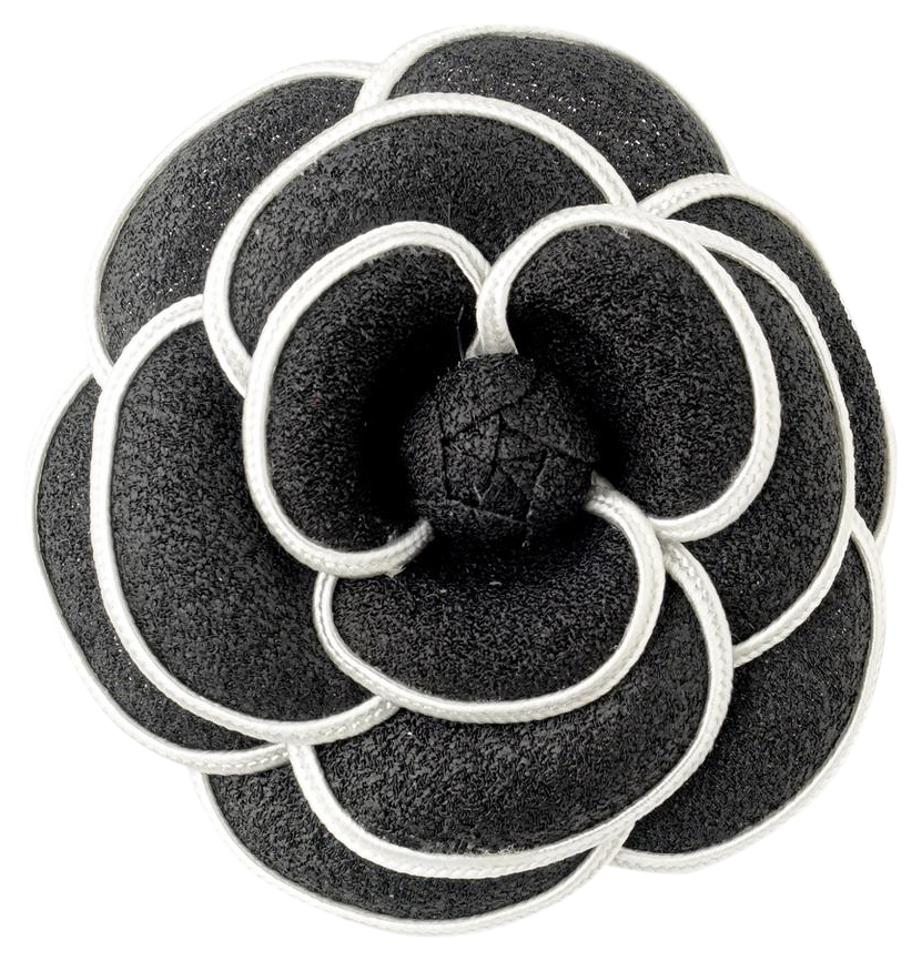 Elegance By Carbonneau Black White Oldies Flower Clip With Brooch