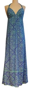 blue and turquoise Maxi Dress by Alice & Trixie Silk Resort Empire Waist Shift