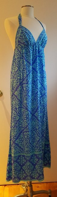 blue and turquoise Maxi Dress by Alice & Trixie Silk Resort Empire Waist Shift Exposed Back Image 1