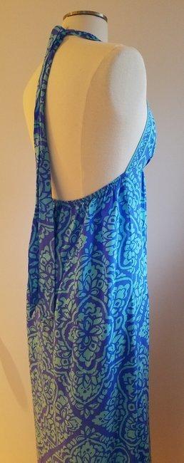 blue and turquoise Maxi Dress by Alice & Trixie Silk Resort Empire Waist Shift Exposed Back Image 2