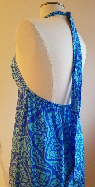 blue and turquoise Maxi Dress by Alice & Trixie Silk Resort Empire Waist Shift Exposed Back Image 4