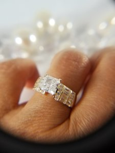 Yellow Gold 14k Solid 2ct Man Made Diamond Princess Engagement Ring