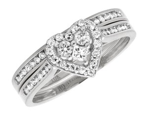 Other Round Diamond Heart Shaped Bridal Engagement Ring Set .52Ct 2mm
