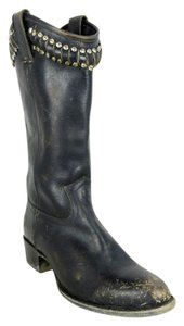 Frye Leather Distressed Western Studded Black Boots