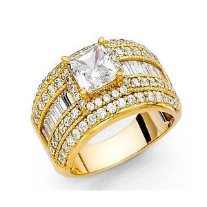 Yellow Gold 3ct Princess Cut 14k Solid Man Made Diamond Size 5 6 7 8 9 Engagement Ring