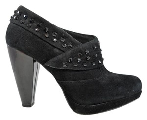Kenneth Cole Suede Crystal Ankle Platform Black Boots