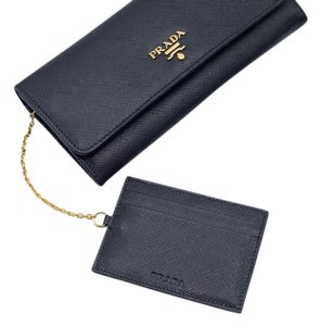 Prada Prada Womens Saffiano Leather Black Continental Flap Wallet